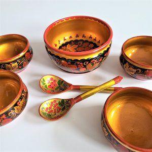 Vintage Soviet Russian Hand Painted Bowl Set.